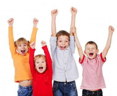 Happy kids with their hands up isolated on white stock vector