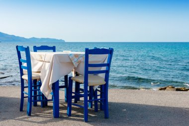 Sidewalk cafe in Kissamos. Crete, Greece