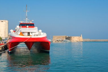 Catamaran ferry in port of Heraklion. Crete, Greece