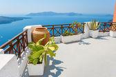 terrazza vista mare. Fira, santorini, Grecia