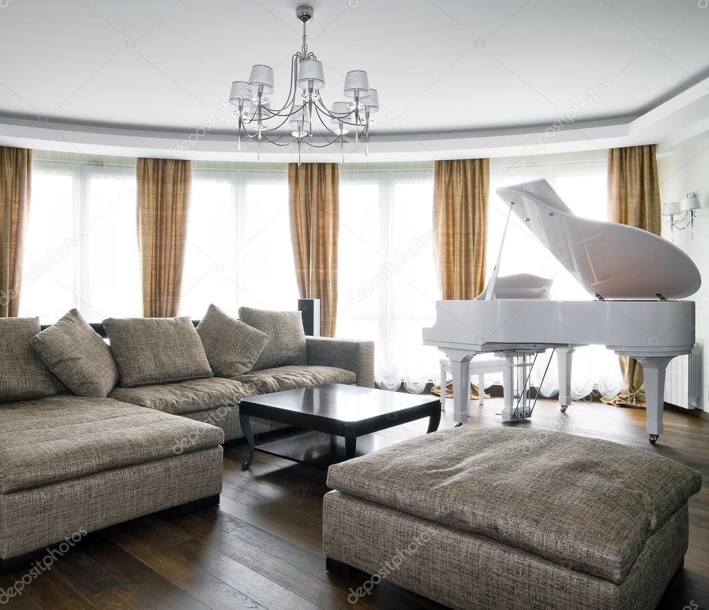 Interior of light living room with white piano — Stock Photo ...