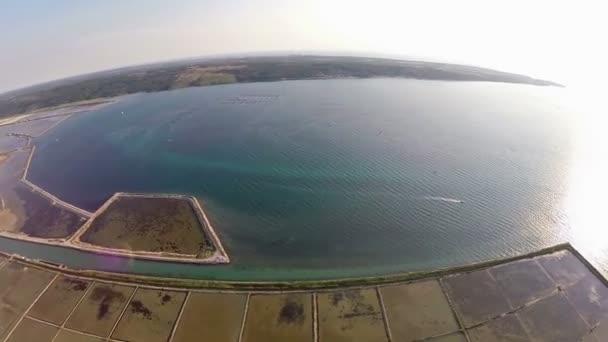 légi 360 fokos panoráma a soline-Szlovéniában a helyet a kitermelés a tengeri só