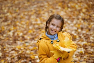 beautiful girl in yellow coat holding maple leaf