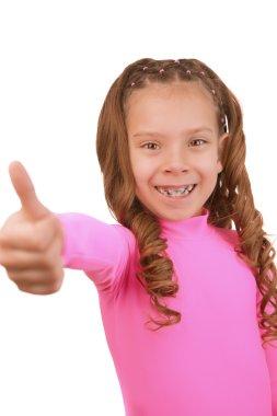 cheerful girl lifts thumb upwards