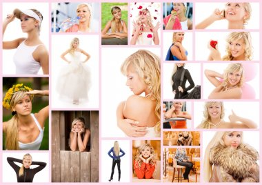 Collage beautiful young woman