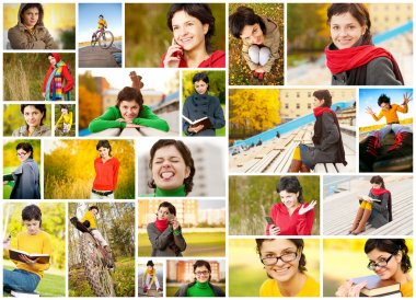 Collage of young woman in fall