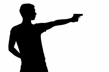 young man took aim with pistol