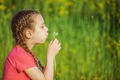 kleines Mädchen bläst ondandelion