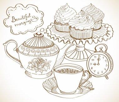 Vintage tea background, set for breakfast