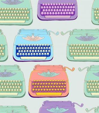 retro typewriter seamless background