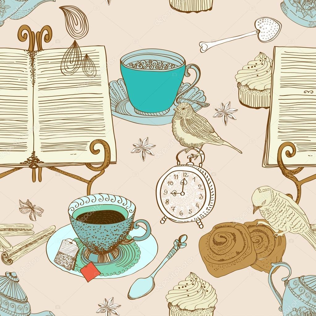 Vintage morning tea background, seamless pattern for design