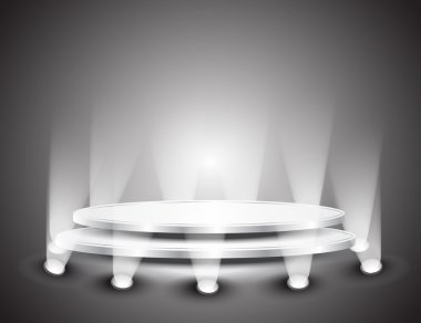 3d Empty white podium with light