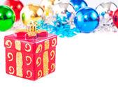 Nový rok pozadí s barevné dekorace míčů a krabičky