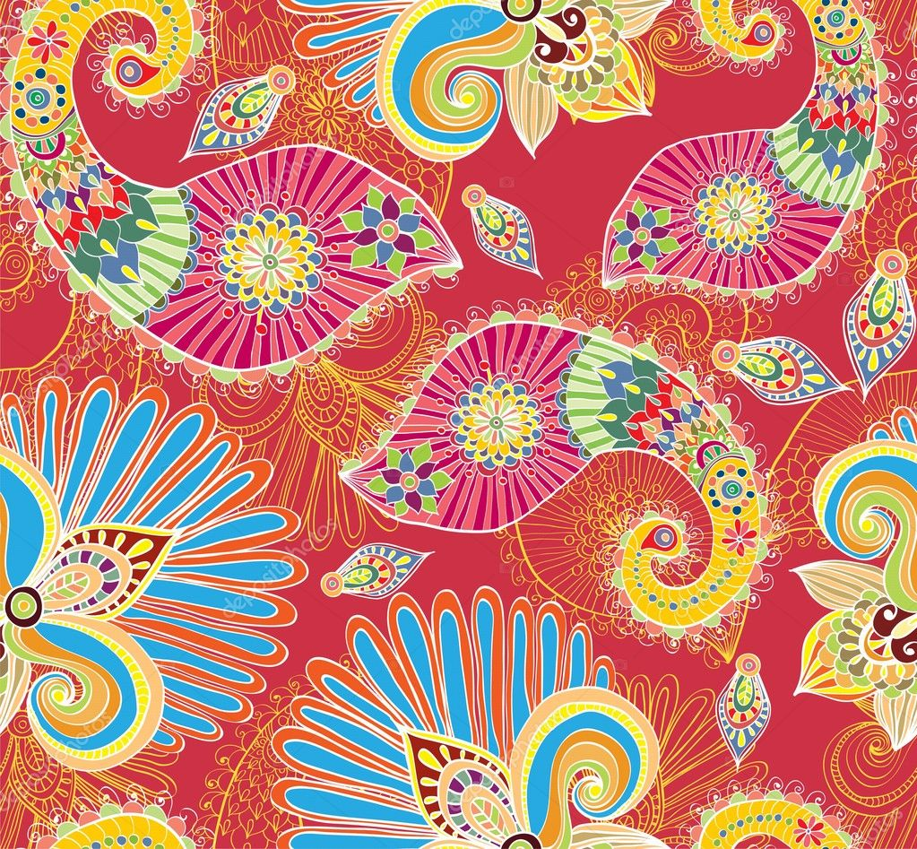 Floral bright seamless pattern with doodle flowers and paisley