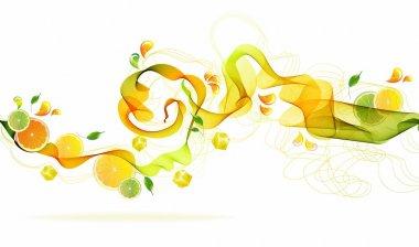 Orange and lime juice splash