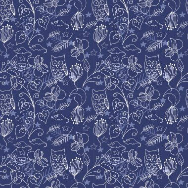 Seamless Doodle Background with Owl