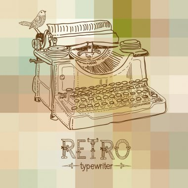 Retro typewriter with bird clip art vector