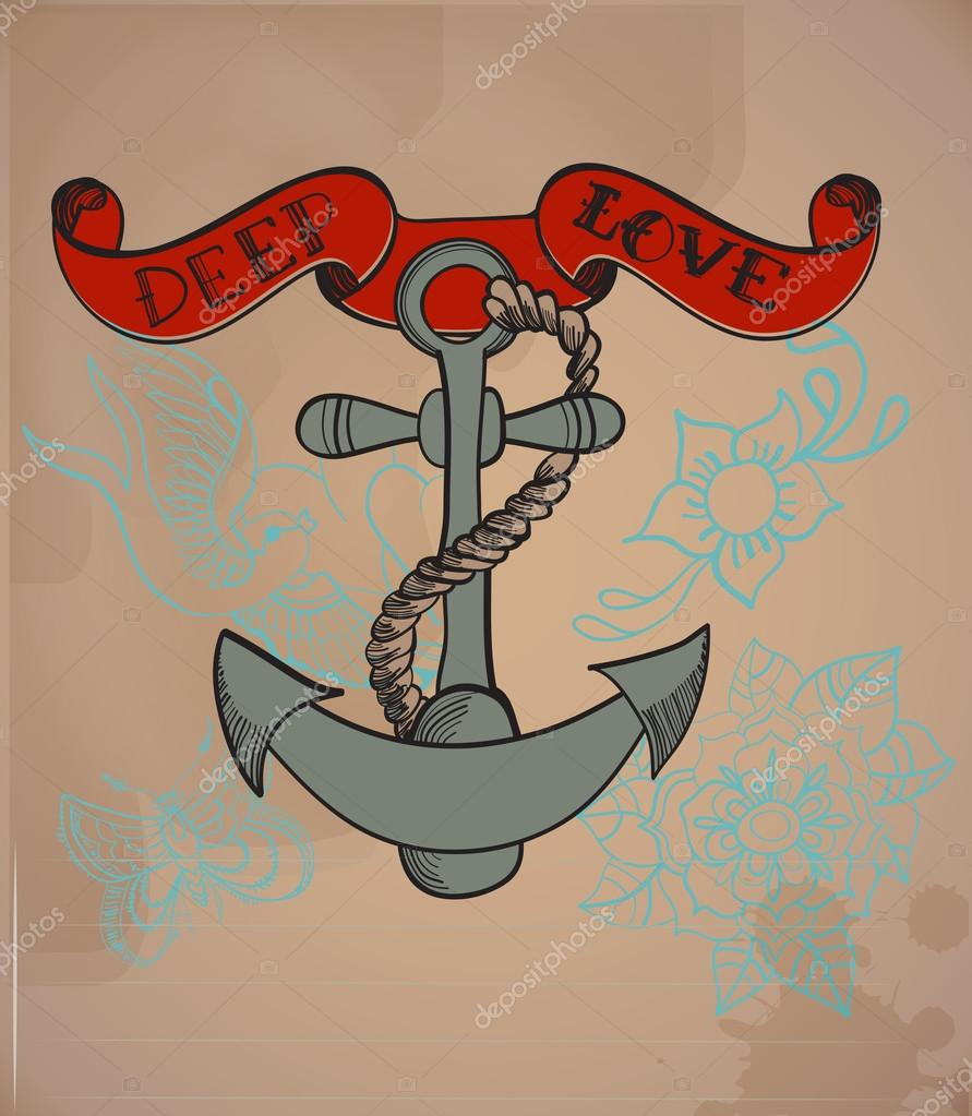 Ancla Antigua Estilo Tatuaje Ilustración De San Valentín Vector