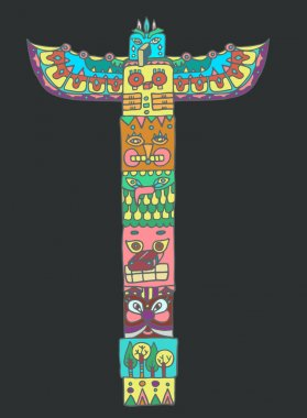 Color Totem pole with animals