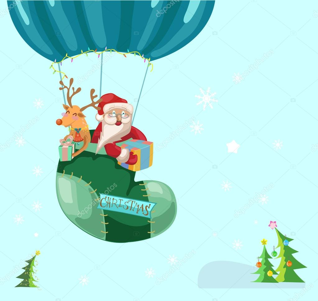 Funny Color Christmas background with hot air balloon with Santa ...
