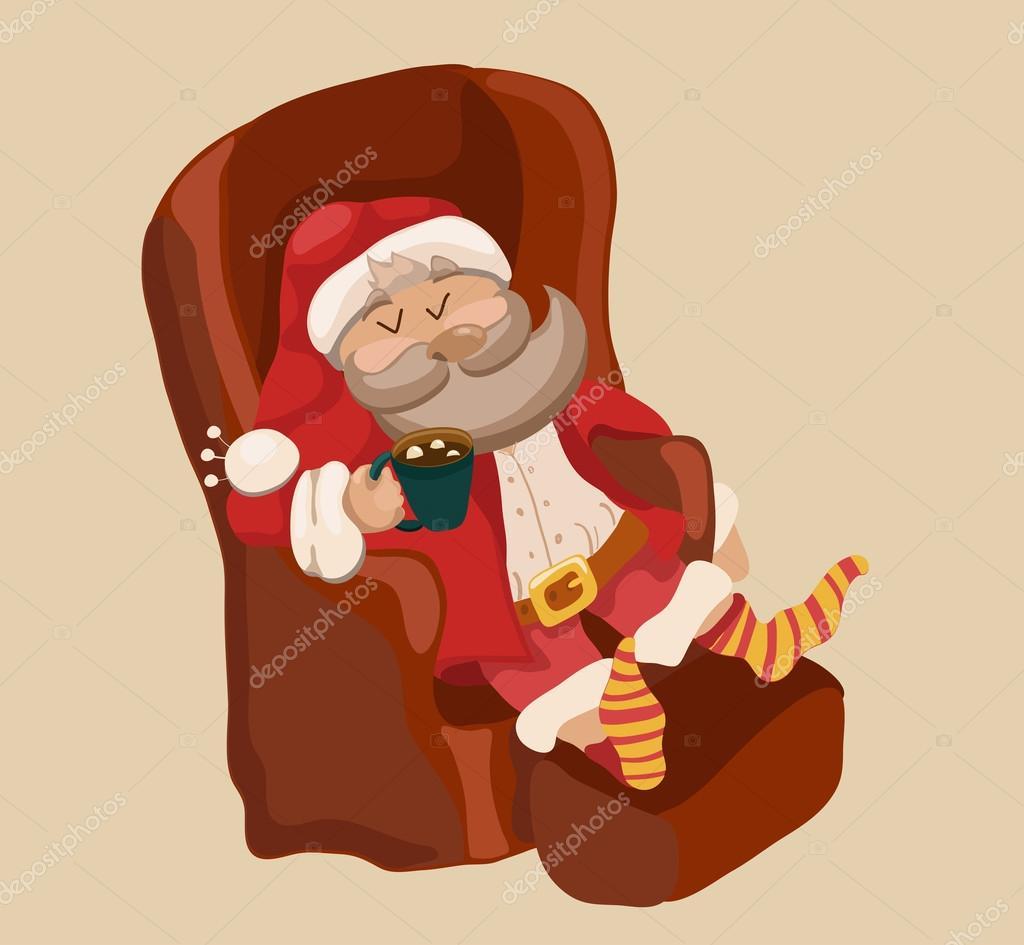 Fondo de color gracioso Navidad con santa claus descansando en cha ...