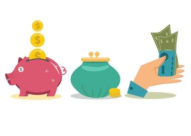 Flat design money concept icons