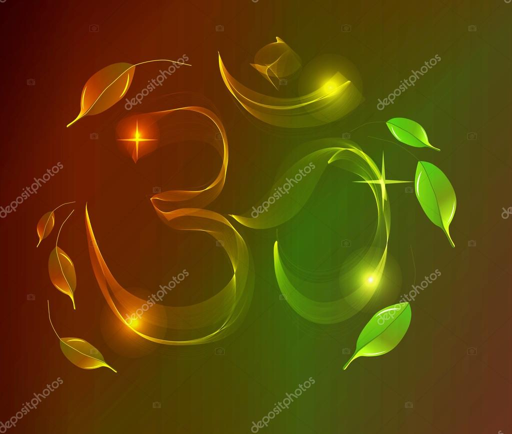 Abstract Colorful Om Sign Over Dark Background Stock