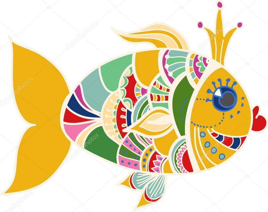 dibujos animados de pescado de color oro sobre blanco — Archivo ...