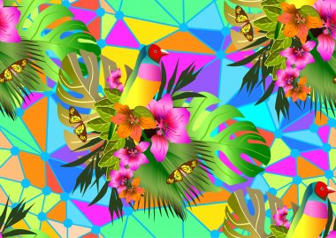 Color tropical flowers and leaves seamless background