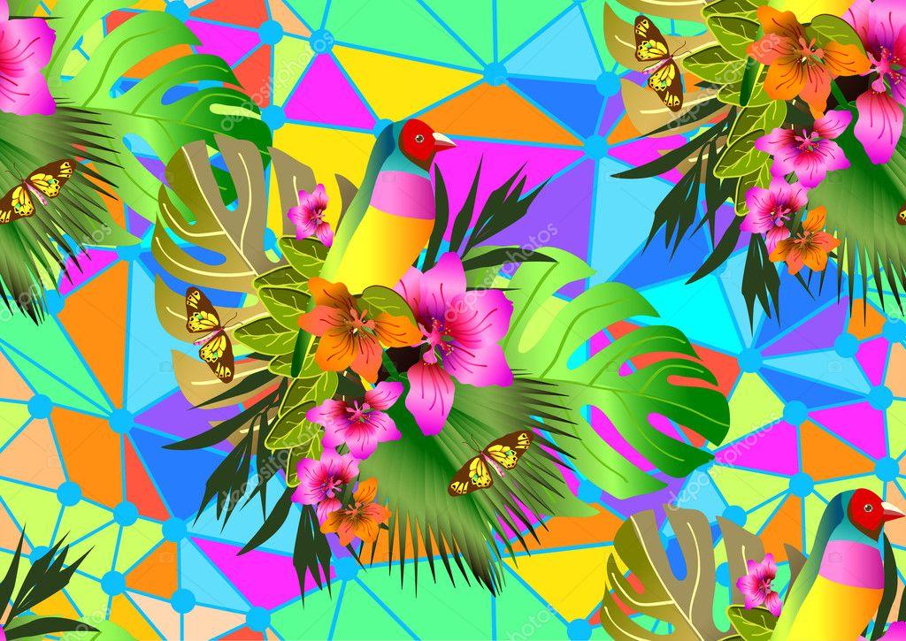 Couleur Tropicale Fleurs Et Feuilles Fond Transparent