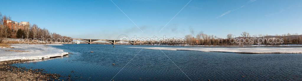View on Krasnoyarsk and bridge over the Enisei river