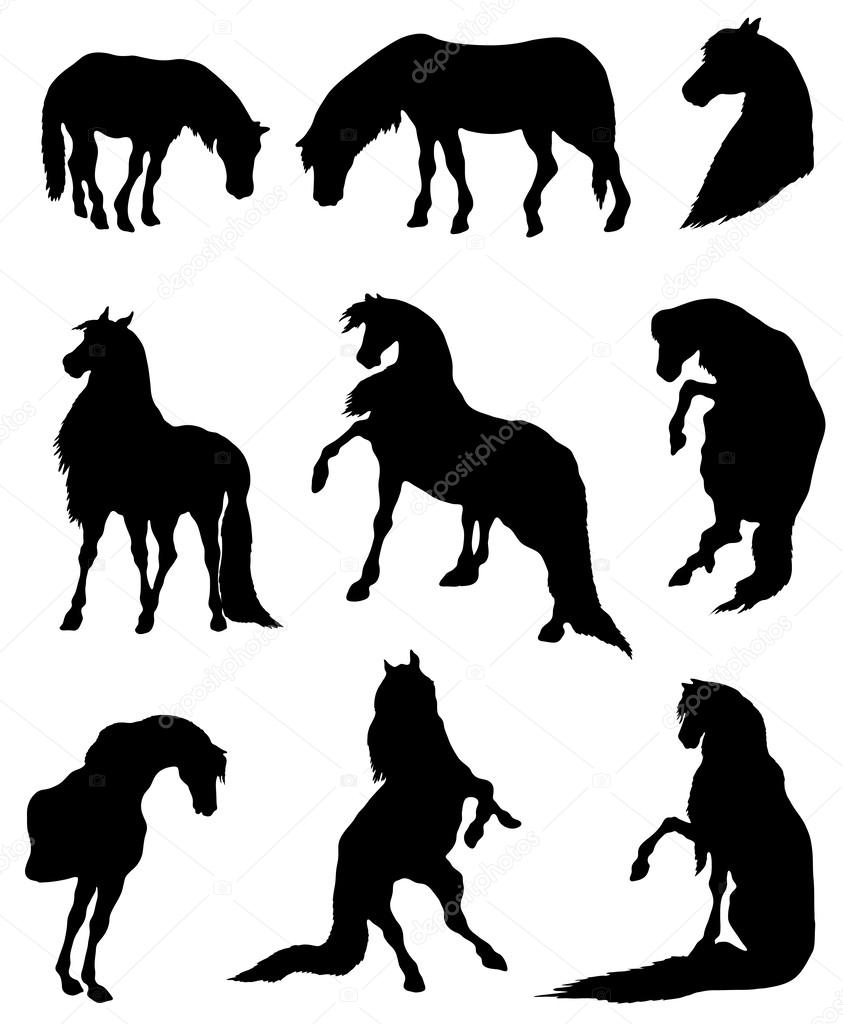 Collection of silhouettes of horses