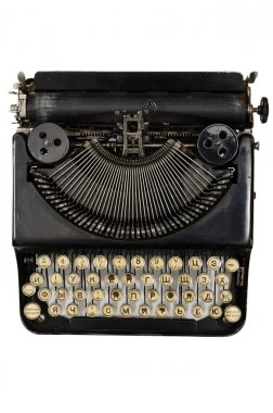 vintage portable typewriter with Cyrillic letters
