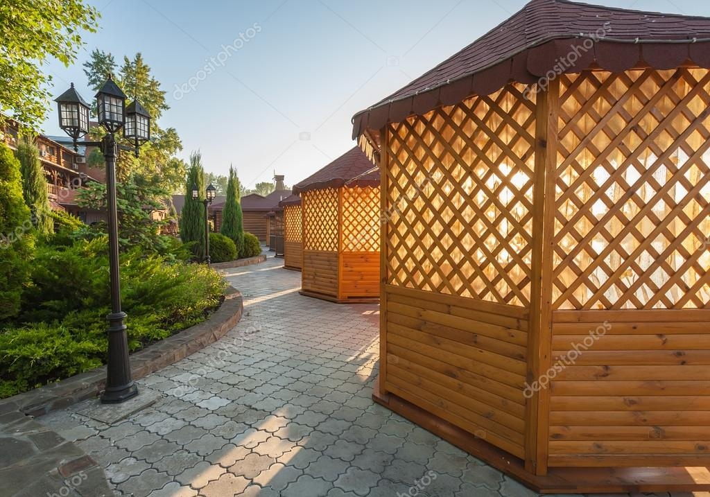 Gazebo in landscaped garden