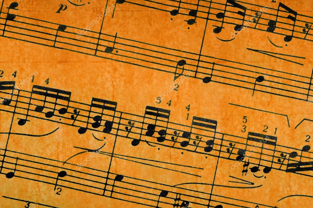Music Notes On Old Paper Sheet Background