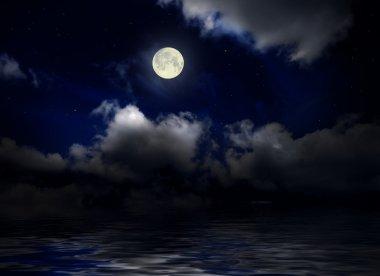 Sea under night sky