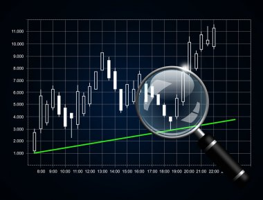 japanese candlestick chart with magnifying glass isolated over d