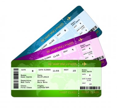 fan of boarding pass ticketsover white