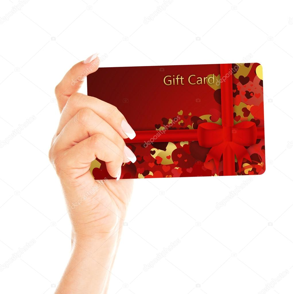 Gift card holded by hand over white