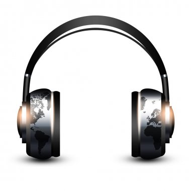 headphones with world map isolated over white