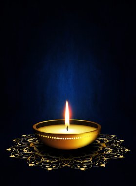Oil lamp with place for diwali greetings over dark blue background stock vector