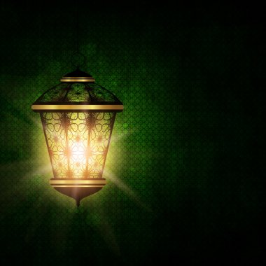 shiny lantern over dark eid al fitr background