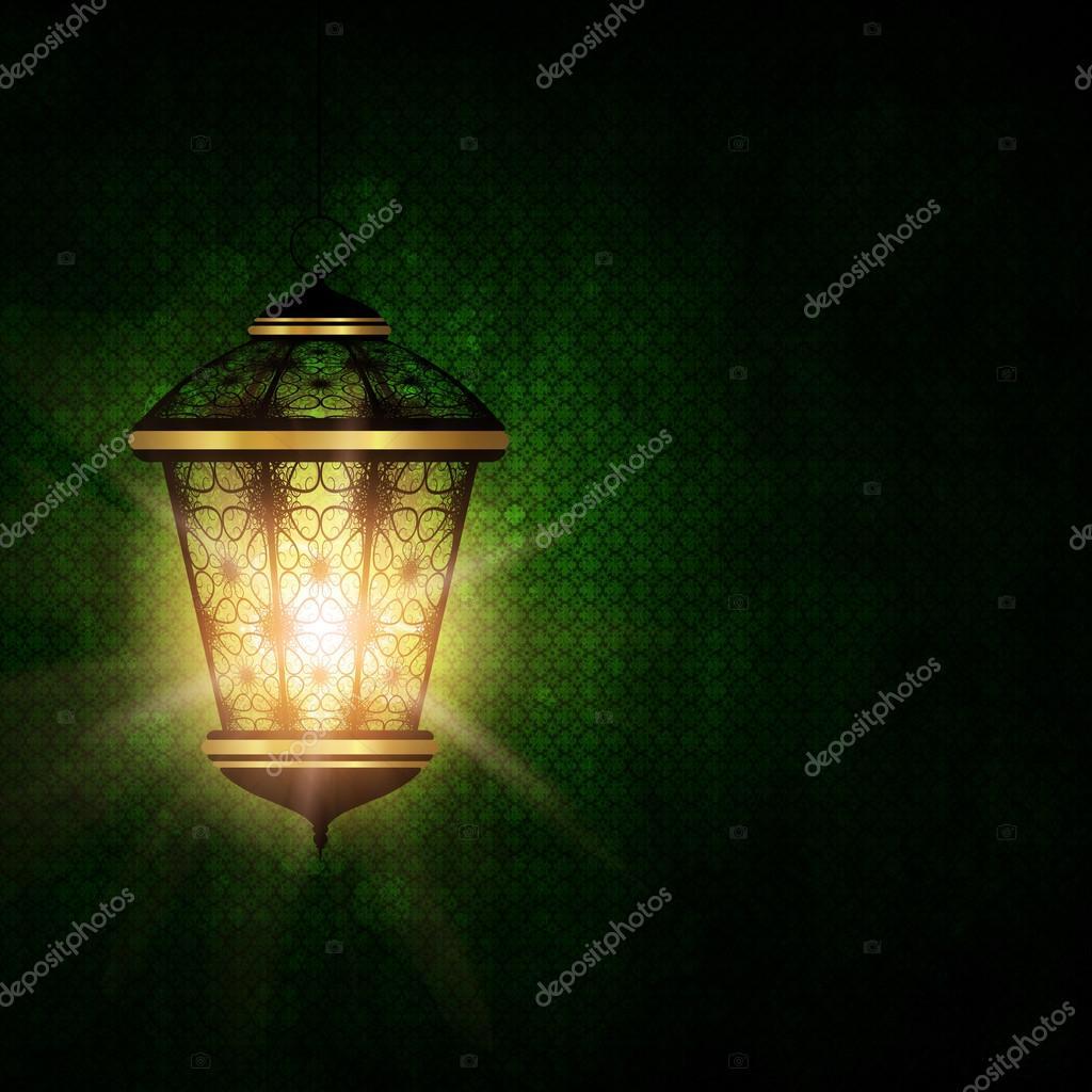 shiny lantern over dark eid al fitr background