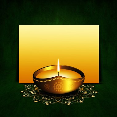 Oil lamp with place for diwali greetings over dark green background stock vector