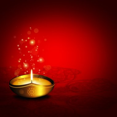 Oil lamp with place for diwali greetings over dark red background stock vector