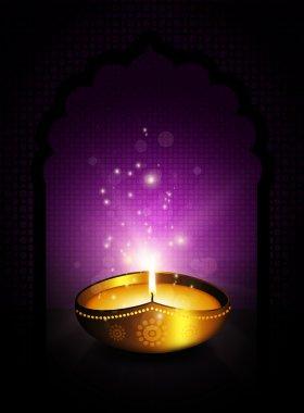 Oil lamp with diwali diya greetings dark violet background stock vector