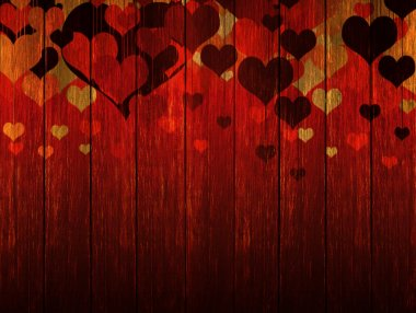Wooden valentines background with coloured hearts stock vector
