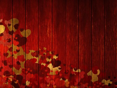 Wooden blured valentines background with coloured hearts stock vector