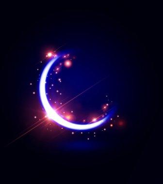 ramadan kareem card with moon and flares
