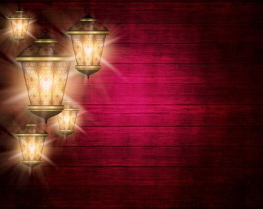ramadan kareem background with shiny lanterns